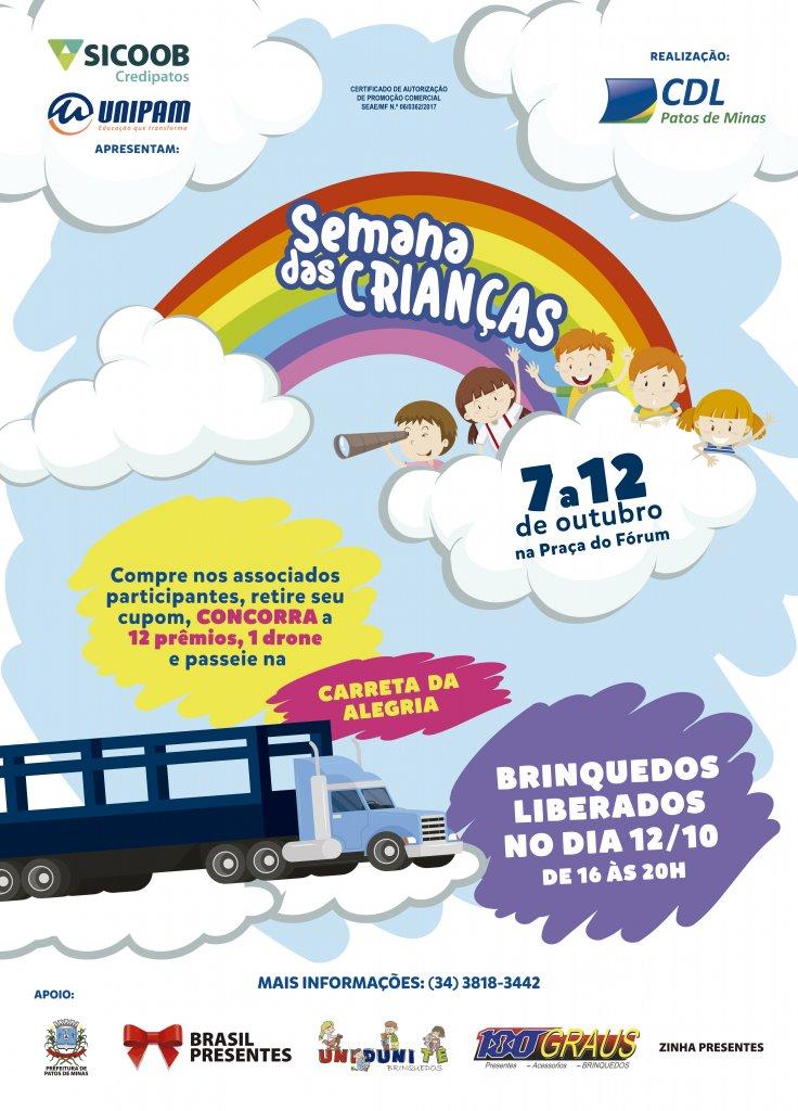 Programação da CDL para a Semana das crianças será na praça central de Patos de Minas!