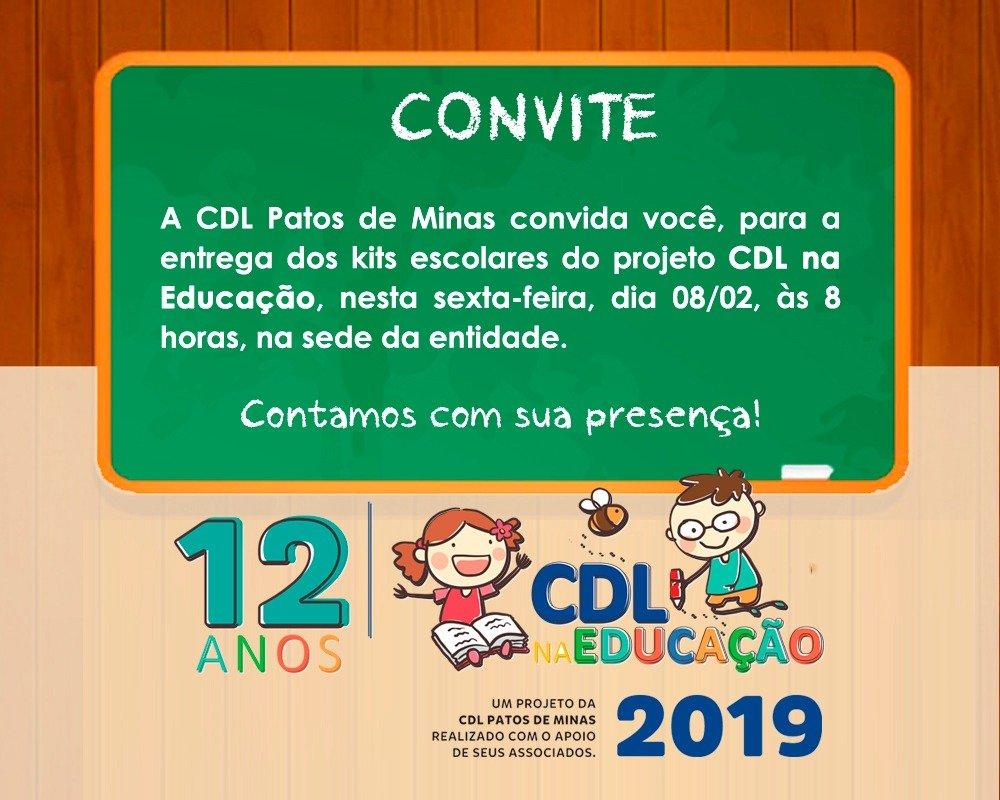 CDL na Educação completa 12 anos e entrega de kits de material escolar acontece nessa sexta-feira
